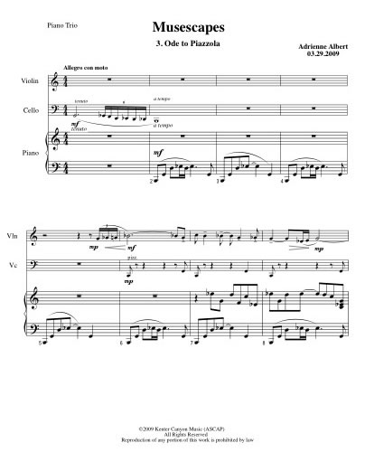 Ode to Piazzolla Example Score Image
